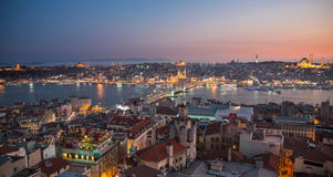 Golden horn of Istanbul at night Stock Photos