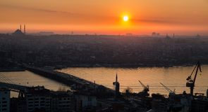 Golden horn of Istanbul at sunset, high contrast profile. Profile view golden horn in Istanbul at sunset, high contrast with mosque in the skyline stock photos