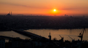 Golden horn of Istanbul at sunset, high contrast profile. Profile view golden horn in Istanbul at sunset, high contrast with mosque in the skyline royalty free stock photos