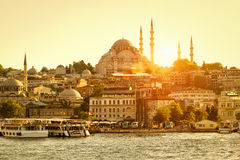 Golden Horn in Istanbul at sunset, Turkey. The Golden Horn is a major urban waterway and the primary inlet of the Bosphorus in Istanbul royalty free stock photo