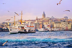 Golden Horn, Istanbul, Turkey. View over Golden Horn to Galata Tower, Istanbul, Turkey stock photos