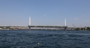 Golden Horn Metro Bridge in Istanbul Royalty Free Stock Photography