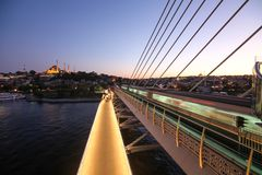 Golden Horn Metro Bridge in Istanbul, Turkey Stock Photography