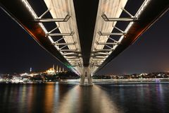 Golden Horn Metro Bridge in Istanbul, Turkey Royalty Free Stock Images