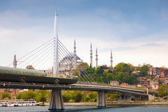 Golden Horn Metro Bridge and Suleymaniye in Istanbul Stock Images