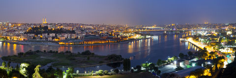 Golden Horn night panorama Stock Images