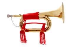 Golden horn over white background Stock Image