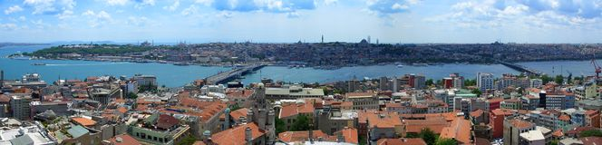 Golden horn pano from Galata tower Royalty Free Stock Image