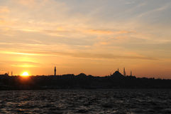 Golden Horn Sunset, Istanbul Royalty Free Stock Images