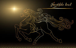 Golden horse. Background with golden horse and stars Royalty Free Stock Images