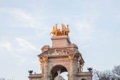 The golden horse figures of the Cascada Monumental in the Ciutadella Park or Parc de la Ciutadella in Barcelona, Spain. The golden horse figures of the Cascada stock image