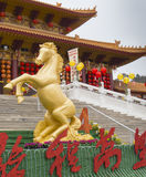 Golden Horse at Hsi Lai Temple. Year of the Horse celebration,Hsi Lai Temple - Hacienda heights , CA. USA Royalty Free Stock Photos