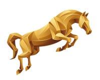 Golden horse jumping vector illustration