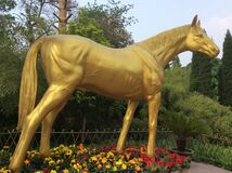 A Golden Horse Statue in White Horse Monastery in Luoyang City