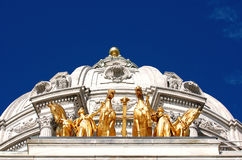 Golden Horses. Golden horse sculpture on top of MN State Capitol stock photo