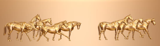 Golden Horses. A computer generated image of 9 horses rendered in shiny gold finish Royalty Free Stock Photos