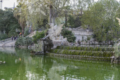 Golden horses and gargoyles in the Citadel Park in Barcelona, Ca Stock Photos