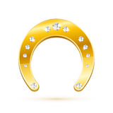 Golden horseshoe with diamonds Stock Images