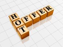Golden hot offer like crossword Stock Image