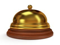 Golden hotel reception bell. 3d render. Golden hotel reception bell with metal body on wooden base. 3d render. Vacation, travel, service concept Stock Images
