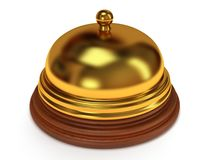 Golden hotel reception bell. 3d render. Golden hotel reception bell with metal body on wooden base. 3d render. Vacation, travel, service concept Royalty Free Stock Images