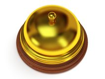 Golden hotel reception bell. 3d render. Golden hotel reception bell with metal body on wooden base. 3d render. Vacation, travel, service concept Royalty Free Stock Image