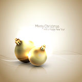 Golden hour Christmas Greeting with Shiny Globes Royalty Free Stock Image