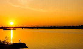 Golden hour on Danube river. Serbia Stock Photos