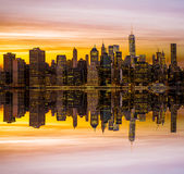 Golden hour downtown Manhattan Royalty Free Stock Photo