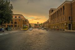 Golden Hour on the Luigi Petroselli Street in Rome. This image I captured while crossing Luigi Petroselli Street, with an incredible sunset in the background stock images