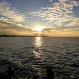 Golden hour over lake Balaton. Sunset over Balaton & x28;Hungary& x29 Stock Photography
