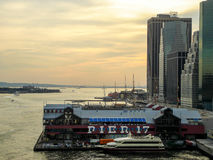 Golden hour over Pier 17 Royalty Free Stock Image