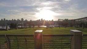 Golden hour - peaceful view of George Wainborn park. VANCOUVER,CANADA - CIRCA December 2014 :Golden hour - peaceful view of George Wainborn park stock footage