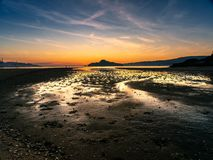 Golden hour at the Ria de Pontevedra, Spain royalty free stock photo