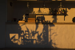 Golden hour - Shadows of two chairs Royalty Free Stock Photos