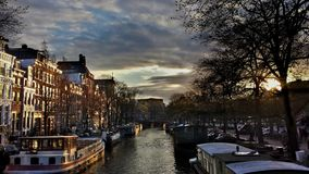 Golden Hour Sunset On The Canals in Amsterdam royalty free stock photography