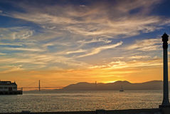 Golden Hour Sunset in Front of the Golden Gates Bridge in San-Fr Stock Image