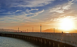 Golden Hour During Sunset on Pier of San-Francisco City in Calif Royalty Free Stock Photos