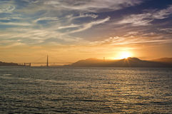 Golden Hour During Sunset on Pier of San-Francisco City in California Royalty Free Stock Image