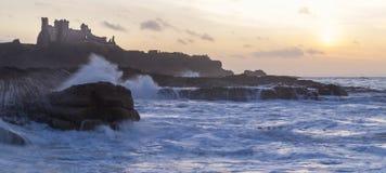 Golden hour, tantallon castle with rough seas Royalty Free Stock Photo
