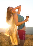 Golden hour and wine Royalty Free Stock Photography