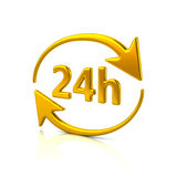 Golden 24 hours icon. 3d illustration of golden 24 hours icon on white background Stock Photo