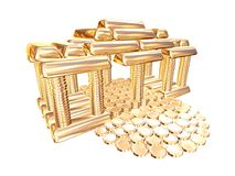 Golden House. House of Gold coins and gold bullion isolate on a white background stock illustration