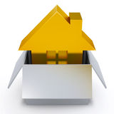 Golden house. New golden house in the box real estate conceptual 3d illustration Vector Illustration