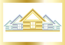 Golden house. Golden and silver houses on a white background Stock Images
