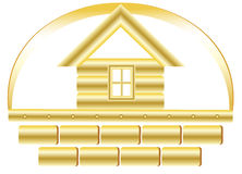 Golden house and bricks Stock Images