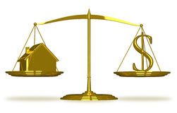 Golden house and dollar sign on scales.  Stock Photo