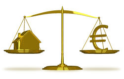 Golden house and euro sign on scales Stock Photography