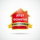Golden House Golden Flag Finanzierung. Infographic with house on the white background. German text jetzt guenstig finanzieren, translate attractive financing now Royalty Free Stock Photography