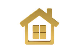 Golden house icon,3D illustration. Stock Photo